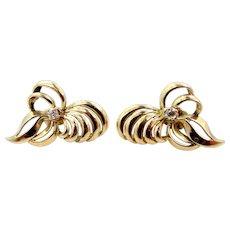14k Gold and Diamonds Retro Bow Motif Pierced Earrings