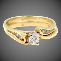 Two 14k Gold Diamonds Wedding Band & Engagement Ring