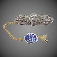 Dorson's Sterling Silver Art Deco Bar Pin with Original Hang Tag