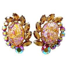 6b559933b Juliana Oval Coated Irregular Baroque Rose Quartz Glass D & E Clip on  Earrings