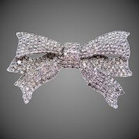 Vintage Pauline Trigere Pave Figural Bow Pin