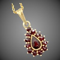 Vintage Bohemian Garnets 900 Silver Vermeil Tear Drop Pendant and Chain