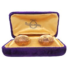 10k Rose Gold and Yellow Gold Victorian Cufflinks Cuff Links