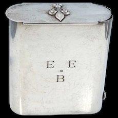 1940s Black, Starr, Gorham Sterling Silver Tobacco Tin with Sliding Lid
