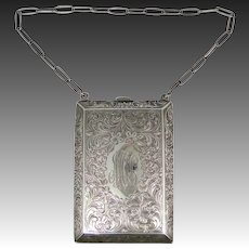 Victorian James E. Blake Sterling Silver Chatelaine Reticule