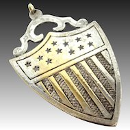 Vintage Solid Sterling Silver Shield Pendant