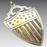 Vintage Solid Sterling Silver Shield Pendant