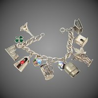 Old Sterling, 835 Silver and 800 Silver Charm Bracelet