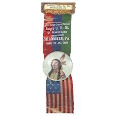 1911 Imp'd Order of Red Men Celluloid Ribbon Badge Pennsylvania