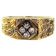 Unusual 14k Gold and Diamonds Man's Etched Ring