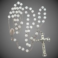 Pretty Sterling Silver Rosary With Faceted Crystal Beads