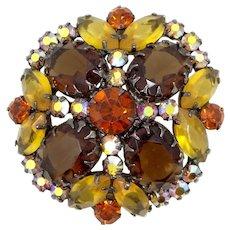 Juliana D & E Multi Pronged Large Topaz Glass Stones Pin