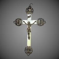 Victorian Sterling Silver Mother of Pearl Crucifix Pendant