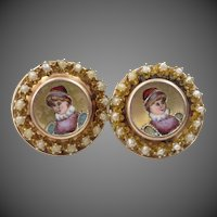 14k Gold and Seed Pearls Hand Painted Victorian Earrings