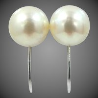 14k White Gold Cultured Pearls Screw Back Earrings