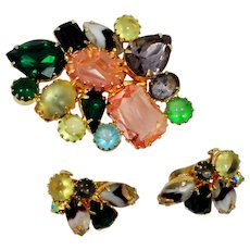 Juliana D and E Pin & Earrings Set with Banded Marquise Stones Book Piece