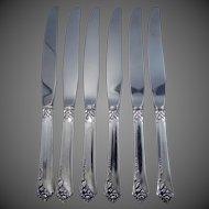 6 Heirloom Sterling Dinner Knives Damask Rose Pattern