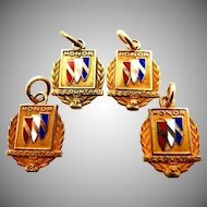 Four 10k Gold Buick Automobile Employee Service Charms