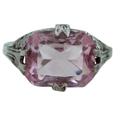 1920's Art Deco Sterling Silver Pink Crystal Filigree Ring