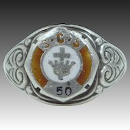 1920s Sterling Silver and Enamel S.C.S. School Ring