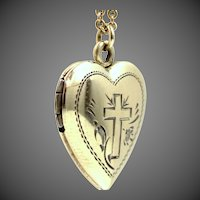 G.F. on Sterling Silver Heart Locket with Etched Cross