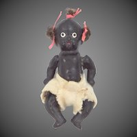 "2 3/4""  Five Piece Bisque Black Baby Doll with Pigtail Tufts"