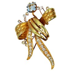 1920's Blue Crystal Floral Pin