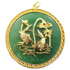 HUGE Green Agate Pendant with Imitation Gemstones Asian