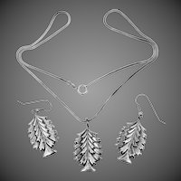 Pretty Sterling Silver Figural Trees Necklace and Earrings