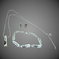 Nice Diamonds Sterling Silver Bracelet, Necklace and Earrings Set