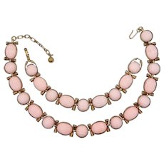 1950's Trifari Pink Melon Cut Angel Coral Colored Thermoset Necklace & Matching Bracelet