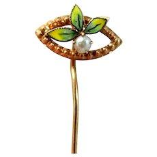 10k Gold Victorian Enamel Seed Pearl Stick Pin