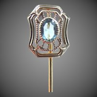 Art Deco 10k White Gold & Yellow Gold Filigree Stick Pin