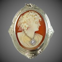 14k White Gold Habille Cameo Pin / Pendant with Diamond Necklace