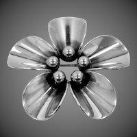 N.E. From Denmark Sterling Silver Beaded Flower Pin