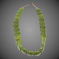 "17 1/2"" Long Green Bakelite Choker Necklace"