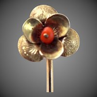 Victorian 10k Gold and Coral Floral Stickpin