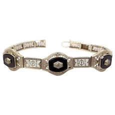 Ostby & Barton 14k White Gold Filigree Diamond and Onyx Bracelet