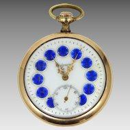 Highmere 17 Jewel Cobalt Blue Enamel Dial Pocket Watch