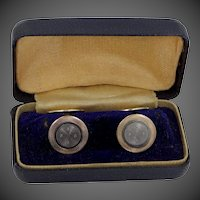 2 Tone Art Deco Engine Turned Cufflinks Cuff Links