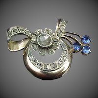 Rose Cut Diamonds & Sapphires Gold Brooch