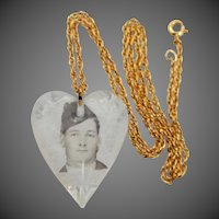 Army Sweetheart Necklace Lucite Heart with Photo