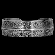Pretty Solid Sterling Silver Butterfly and Flowers Cuff Bracelet Circa 1930's