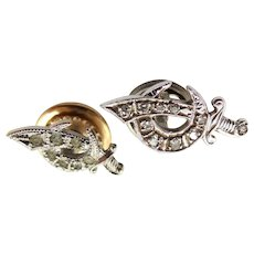 Palladium & Diamonds Shriner's Pin and Sterling Silver