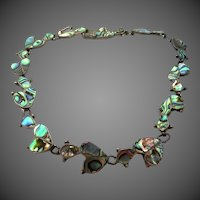 Brilliant Sterling Silver and Inlaid Abalone 1940's Necklace