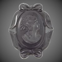 Black Bakelite Cameo Mourning Pin