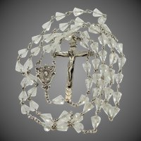 Sterling Silver Crystal Catholic Rosary with Unusual Beads