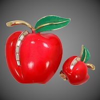 Pastelli Red Enamel and Rhinestone Apple Pin