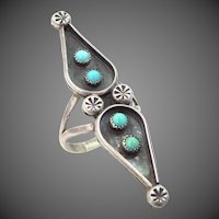 Artist Signed EL Sterling Silver and Turquoise Southwestern Ring