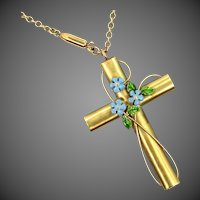 Vintage KREMENTZ Enameled Cross Necklace
